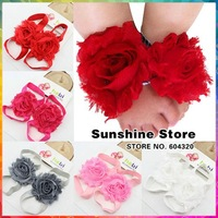 Sunshine store 8J0002 10pair/lot (9color) Baby Boutique elastic rosset Shabby Chiffon Flower Barefoot Sandal shoes first walkers
