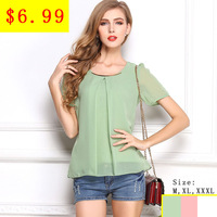 2014 New Light Green O-Neck Short Sleeve Casual Chiffon Blouse For Women Ruffles Shirt Free China Air Express Large Size XXXL