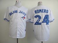 2014 Ricky Romero 24 Toronto Blue Jays Authentic Away White Jersey stitched onfield Baseball Jersey, free shipping,mix order