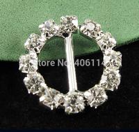 50Pcs 16mm Round Crystal Clear Silver Plated Rhinestone Ribbon Buckle Chair Slider Wedding Supplies