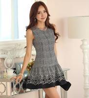 2014 New Vintage Style Summer Women Sleeveless Pleated Chiffon Dress Princess Ladies Party Dresses Free Shipping