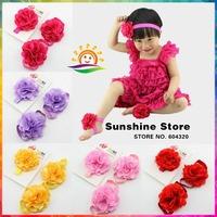 footwear Baby Boutique elastic rosset Headbands and Barefoot Sandal shoes set Leopard/zebra  #8J0006 10set/lot (14 color)