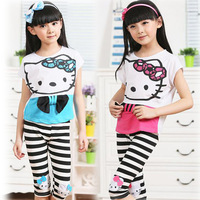 4-12Y Summer Kids Clothes New 2014 Girls Clothing Sets Hello Kitty Kids Clothes Sets Sport Short+Kid Pants Children Outerwear