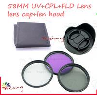 5PCS 58mm UV  CPL  FLD Filter Kit for Canon EOS 1100D 650D 600D 18-55mm Lens  Petal Flower Lens Hood  Center-Pinch lens cap