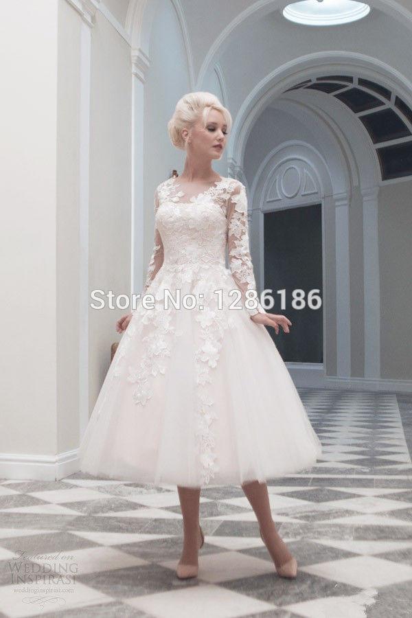 Vintage new beautiful tea length white ivory lace wedding for Ivory lace tea length wedding dress