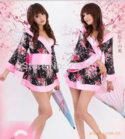 Hot Sale Wholesale Sexy Lingerie Kimono Dress +G string+ Sleepwear  Underwear Uniform Flower Sexy Kimono Costume Free Shipping