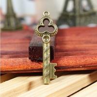 56 retro key design diy necklace bracelet component  20pcs/lot 52*17MM   pendants alloy  lucky Charms  Jewelry Findings