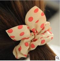 Rabbit ears hair band lovely wave point chiffon bow hair wholesale