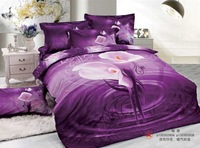 Free Shipping 2014 Tempting 3D Flower Printed Four Pieces Bedding Sets Duvet Cover Flat Bed Sheet Pillow Cases Home Textiles