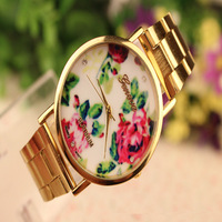 100pc/lot Hot Selling Metal Rose Watch Flower Geneva Wristwatches 2014 Brand Vintage Women's Alloy Fashion Dress Quartz Watch
