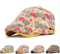 Free Shipping 2014 Women And Men Casual Plaid Fur Hat  Femal Beret Flowers Print  Visors Hiking Cap