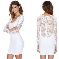 lace patchwork woman skinny knitting short dress for wholesale and free shipping haoduoyi