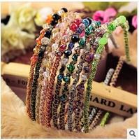 Fashion hit color irregular crystal gold cord around broadside hoop hairpin