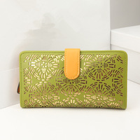 hot selling 2014 leather wallet women pu leather hollow flower fashion long design wallets women pass port holder