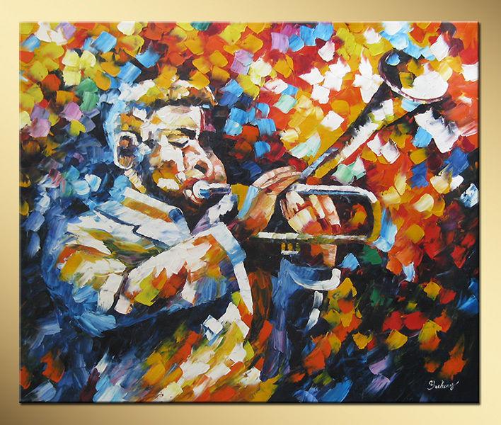 Música trompetista resumo pintados à mão pintura a óleo(China (Mainland))