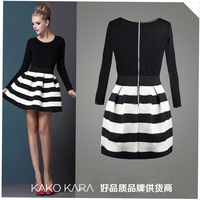 European and American fashion style brand name women dress with round neck long-sleeved zipper stitching stripe dress829