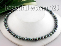 """New fine pearl jewelry  18"""" 9-10mm peacock black pearls necklace 14k"""