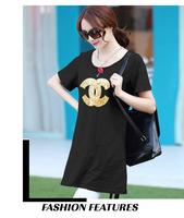 2014 Summer Women's Paillette Medium-long Plus Size Loose Short-sleeve T-shirt Top Big Size 3XL 4XL Blouse