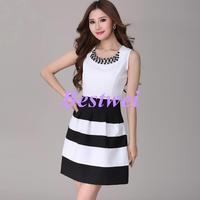 Free Shipping New European Style Summer Dress Chiffon Bud Skirt Women Striped stitching Slim 217