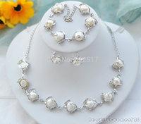New fine pearl jewelry  Set white baroque freshwater pearl earring bracelet necklace