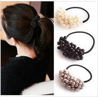 4PCS/lot Handmade Pearl Beads Elastic Hair Bands Ponytail Hair Rope Ties Free Shipping