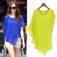 New 2014 Women Clothing Short-sleeve Knitted Chiffon Patchwork Top Women Hollow out Irregular Pattern Shirt Blouse in Stock m152