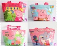 new Free shipping 12pcs/LOT new peppa pig Waterproof Children's nylon bag/shopping bags/single-shoulder bag,best gift