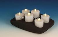 Free shipping; Wireless charging gravity sensor waterproof 0.1W LED Candle Light, 6pcs/set, 50sets/lot
