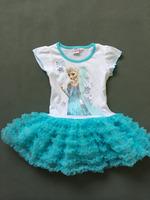 newest Girls summer cartoon dress  kids elsa children Clothes dress  baby clothing