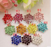 wholesale 100pcs/lot 18mm Clear Alloy Metal Buttons Spark Rhinestone Buttons Decoration Accessory 11 colors