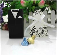 New 2014 wholesale100pcs=50pairs Wedding DRESS & TUXEDO The Bride and Groom Wedding Candy Box #3