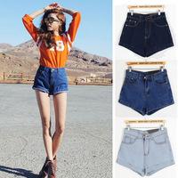 Free fast shipping 2014 summer women's high waist denim shorts female loose plus size roll-up hem Jeans short