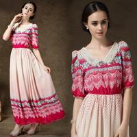 Autumn 2014 New Fashion Printing Chiffon Dress Half Sleeve V Neck Slim Waist Boheminan Maxi Long Dresses Summer Women Clothes XL
