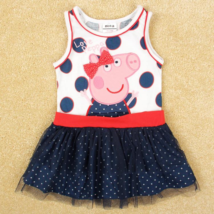 New Brand Nova Baby Girls Children Pepa Peppa Pig Tank Polka Dot Princess Party Dress Vestidos Clothing,Bebe Girl's Kid Dresses(China (Mainland))