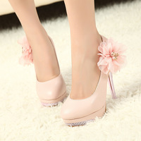 2014 New Arrival Hot Sale big flower high heels single shoe Sexy Fashion Women's Pumps Bling Bling Heel And Bottom free shipping