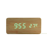 Modern Real Wooden Wood Desk LED Digit Cube Alarm Clock Voice Control Temperature Free shipping