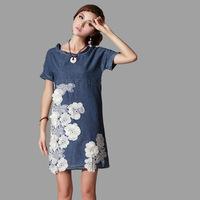 2014 New Women Denim Dress,Spring Summer Cowboy dress High-grade National wind Lace Applique Round collar Loose 7032