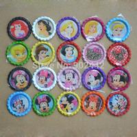 New Arrivals! Wholesale & Free Shipping 1000 pcs Princess Flatten Bottle Caps & Minnie Mouse Flatten Bottle Caps