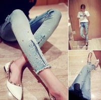 *In the summer of 2014 the new Han edition tide show thin sequins rivet hole feet jeans pencil pants of woman