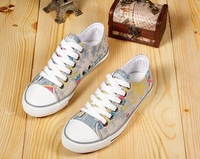 Free SHipping 2014 spring and summer low color block decoration retro casual shoes flatbottomed  canvas shoes