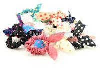 5 PCS Cute Mini Bunny Ears Shape Dot Pattern Hair Rope Hair Accessories Headwear Bow Rubber Band