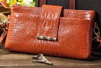 Promotion cowhide bag 100% Genuine leather women messenger bag designer crocrodile pattern handbag with strap lady purses 9color