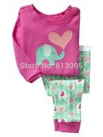elephant pattern , Free Shipping,Baby boys girls  Pure Cotton long sleeve T-shirt+pant pajamas /clothing set  6pcs/lot