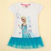 New fashion children girls t shirt with printing Princess Aisha summer short sleeve lace causul gray T-shirt  dress 18/6y