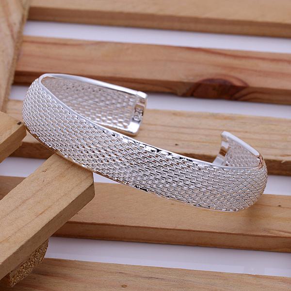 free shippingb fashion silver plated bangle, net shaped Bracelet Soft Bangle Flexible Snake Skin Links Small Cuff b102(China (Mainland))