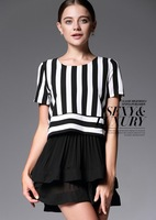 Hot Sale! 2014 New Spring & Summer Women Clothing Elegant Fashion Dresses Ball Gown White Black Striped Dress For Ladies