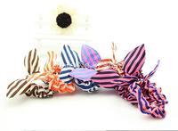5 PCS Cute Mini Bunny Ears Shape Stripe Pattern Hair Rope Hair Accessories Headwear Bow Rubber Band