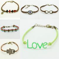 Only 1pcs send Free Fashion Handmade Silver Tone infinity charms MIX colors Bracelet suede leather bracelet  bracelet Best gift