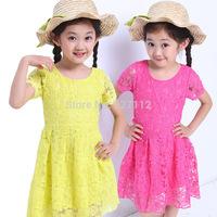 Meninas Vestir Real Peppa 2014 New Kid's Lace Summer Party Dress 4-14yrs Girl's Tutu Princess Toddler Lovable Dresses Color 8066