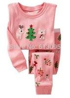 Pink,Free Shipping,Baby boys girls Pure Cotton long sleeve T-shirt+pant pajamas /clothing set  6pcs/lot